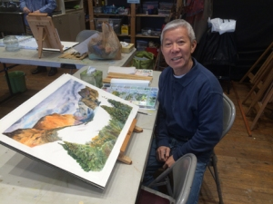 Wan has been working on a very ambitious watercolor of the Grand Canyon from a trip he took there several years ago.