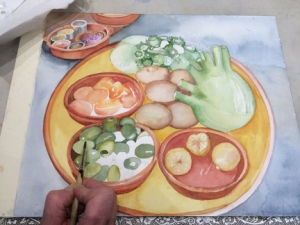 Lynne's thoughtful watercolor rendering of small plates of food from a cooking class.