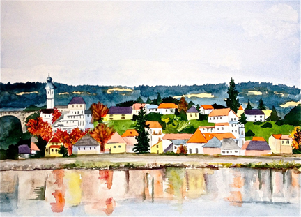 Watercolor by Tara Hamilton: Leaving Bavaria. Best in Show, Capitol Hill Art League exhibit at Hill Center, Washington DC, 2015.