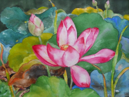 Watercolor by Wan Lee: Lotus. Second Place, CHAW Student Show, Fall 2010.