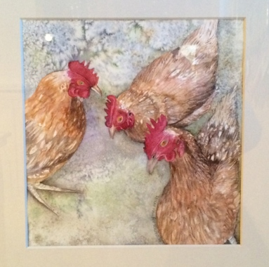Watercolor by Lynne Mallonee Schlimm: Chicken Nuggets. 2014 Maureen Yonis Award, Capitol Hill Arts Workshop.
