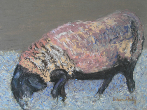 Pastel by Eileen Leahy: Sheep in Sheep's Clothing. Second Prize, Capitol Hill Arts League All-Media Show, February 2011