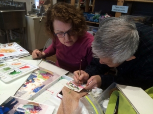 Everytime I turn around someone is demonstrating a technique, providing an impromptu critique, sharing encouragement, or suggestions for art materials. It is a most collaborative, community-oriented group--makes me super happy to be with everyone.