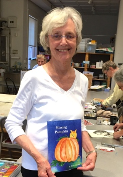 Anne Shields with her new book, Missing Pumpkin