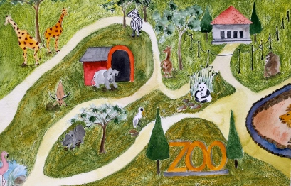 Early zoo watercolor that Anne didn't use in the book