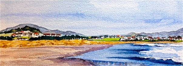 "Watercolor by Tara Hamilton. ""Seaside."" 2015"