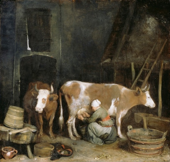 ter Borch: Maid Milking her Cow in a Barn