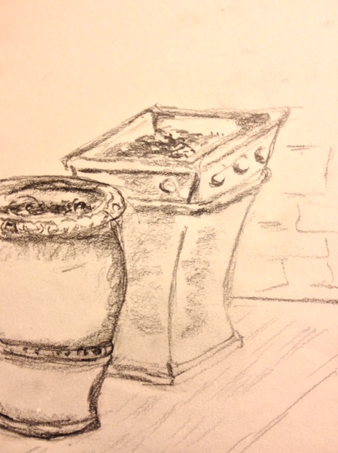 "Eileen Leahy: ""Terra Cotta Pots,"" pencil"