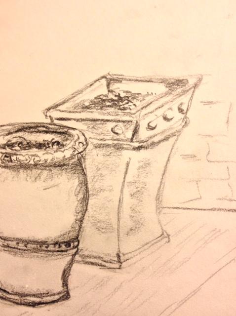 """Eileen Leahy: """"Terra Cotta Pots,"""" pencil"""
