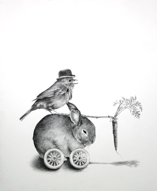 "Ellen Cornett: ""Bunny Mobile,"" charcoal pencil"