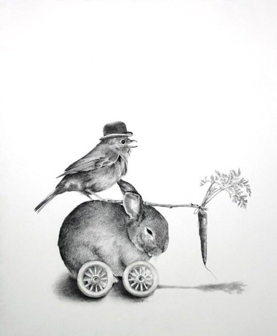 "Ellen Cornett: ""Bunny Mobile,"" charcoal pencil"