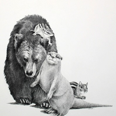 Ellen Cornett: The Bear, the Otter, and the Chipmunks; carbon pencil