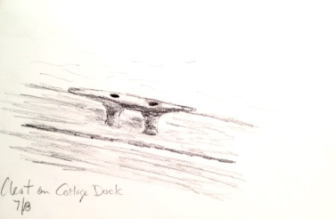 Eileen Leahy: Cleat on Cottage Dock. Pencil.
