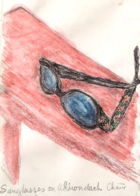 Eileen Leahy: Sunglasses on Adirondack Chair. Inktense watercolor pencils.