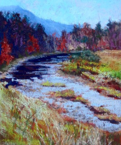 "Runion's Creek, watercolor by Linda Norton, who says, ""This creek runs below our mailbox in Broadway, Virginia. It can be practically dry, or a raging torrent, depending on the rainfall."