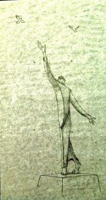 Vince Iannacchione: Francis with Birds. Pencil.