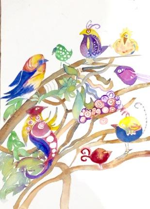 Lynne Mallonee Schlimm: Doodle birds. Watercolor.