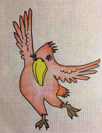 Tom Eichenberger: Dancing Bird. Colored pencil and Sharpie marker.