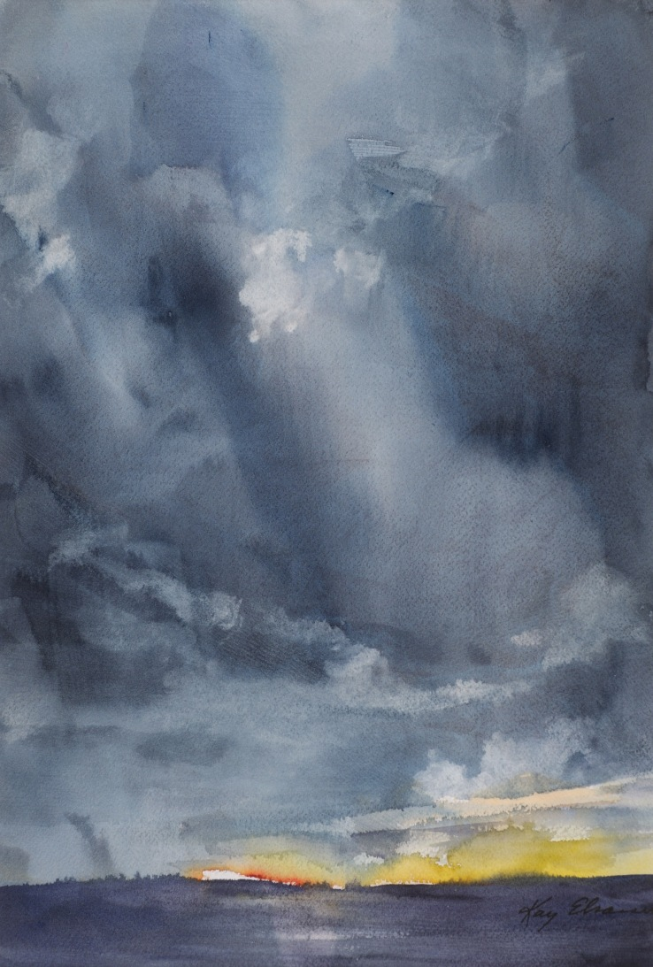 "Kay Elsasser: ""Approaching Storm."" Watercolor."