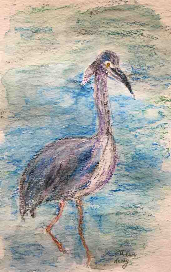 eileen-leahy-great-blue-heron-wax-pastels-with-water