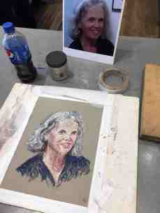Eileen Leahy's self portrait in progress.