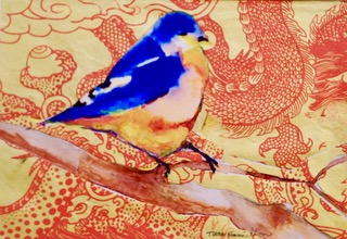 Tara Hamilton Painted Bird Collage on paper