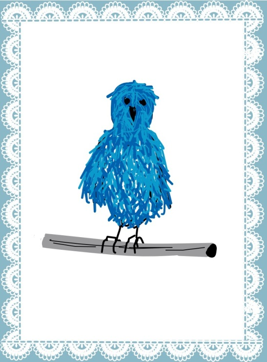 Tara Hamilton Blue (Fluffy) Bird of Paradise--iPad