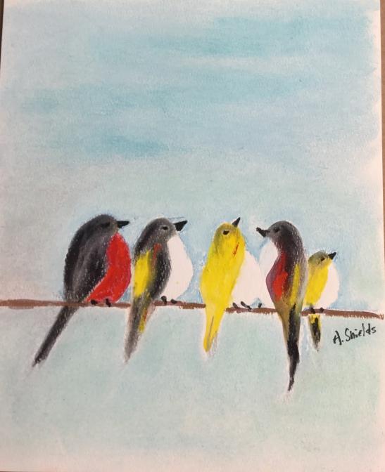 Anne Shields Fat Birds on a Wire