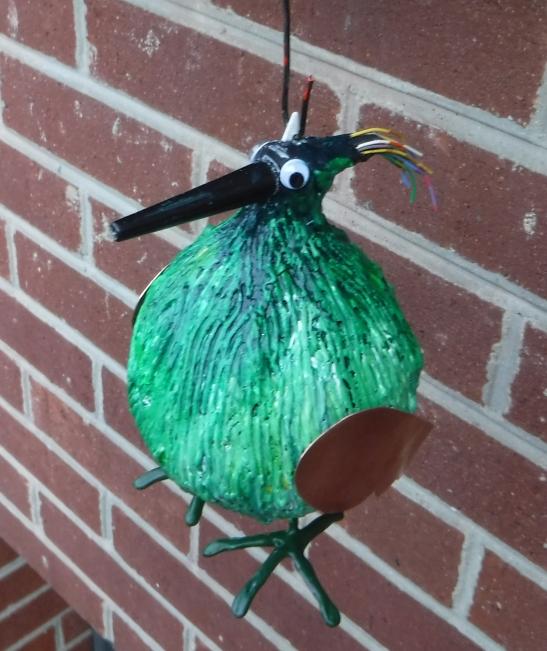 Tom Eichenberger Green Bird Ornament copper plastic wire plaster paint