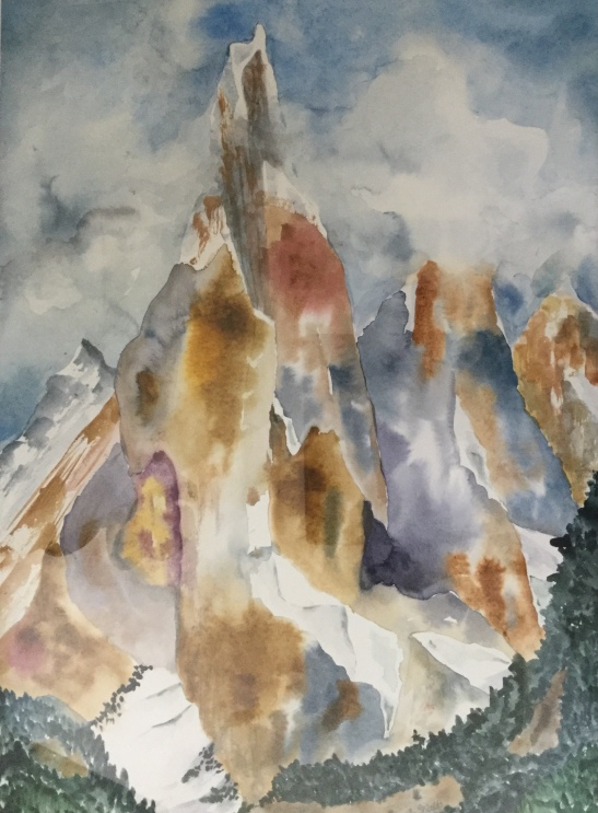 Anne Shields Mt. Fitzroy, Patagonia, Watercolor Sold