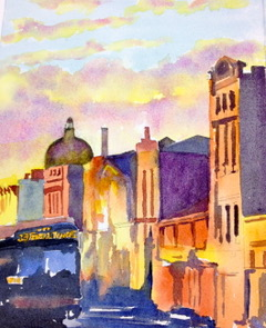 Tara Hamilton Georgetown Traffic Watercolor