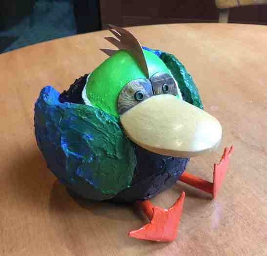 Tom Eicheneberger Sitting Duck wooden spoon buttons copper wood styrofoam plaster paint