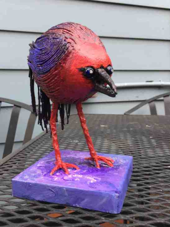 Tom Eichenberger Zombie Bird Styrofoam paint wire, crab claw
