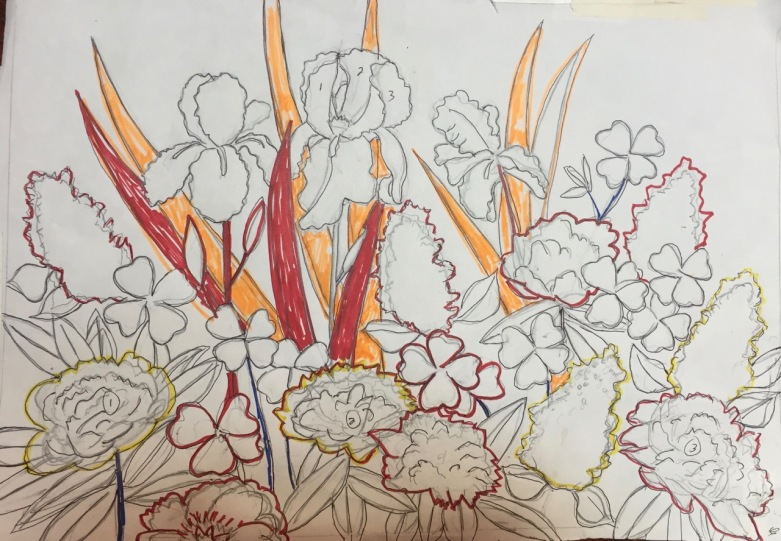 Marian Wiseman 2018 05 Drawing for floral painting