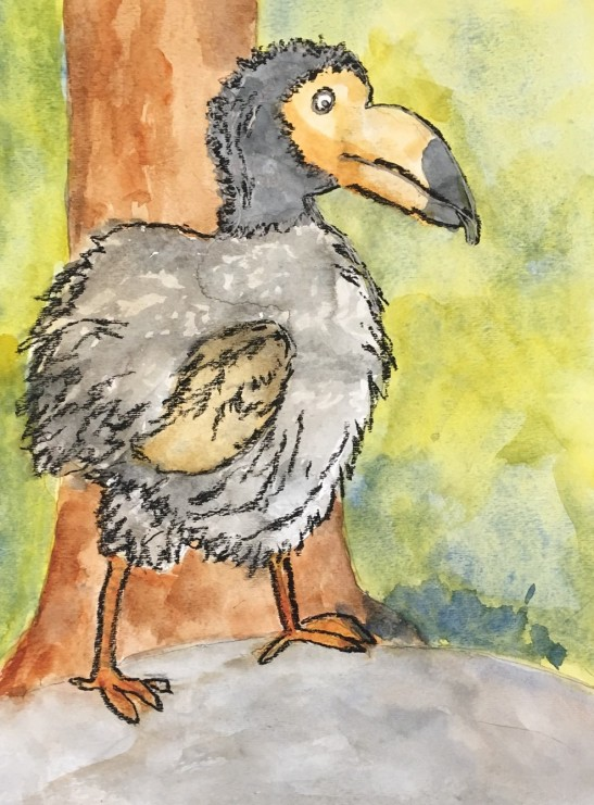 Carolyn Rondthaler Dodo bird mixed media